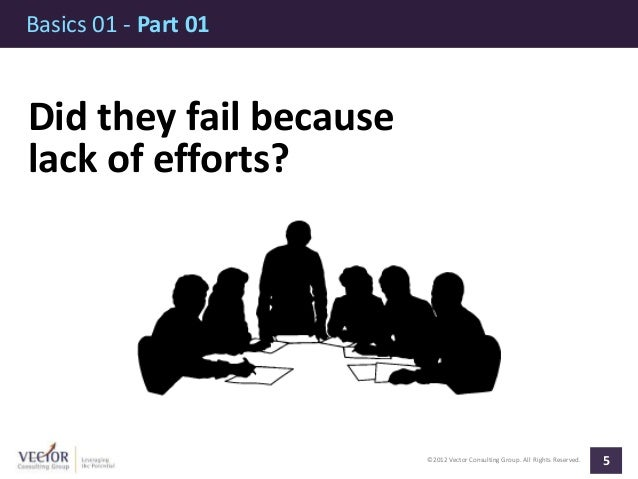 ©2012 Vector Consulting Group. All Rights Reserved. Basics 01 - Part 01 5 Did they fail because lack of efforts?