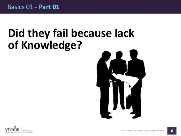 ©2012 Vector Consulting Group. All Rights Reserved. Basics 01 - Part 01 6 Did they fail because lack of Knowledge?