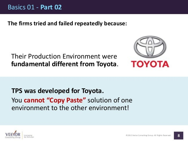 ©2012 Vector Consulting Group. All Rights Reserved. Basics 01 - Part 02 8 The firms tried and failed repeatedly because: T...