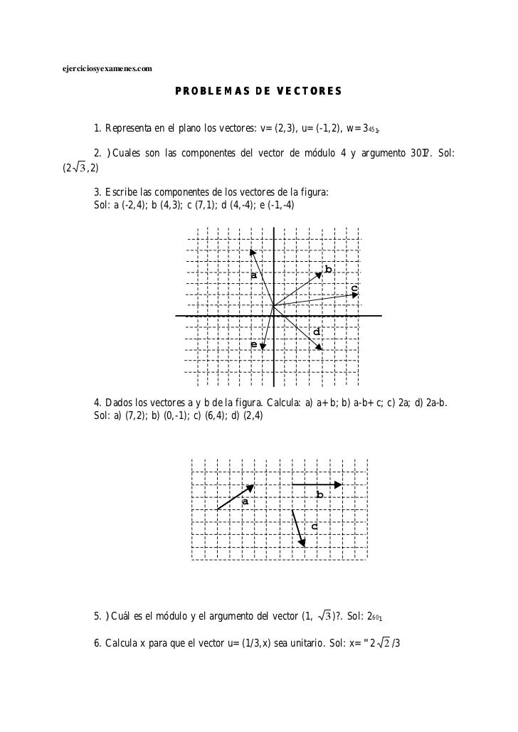 ejerciciosyexamenes.com                          PROBLEMAS DE VECTORES       1. Representa en el plano los vectores: v=(2,...
