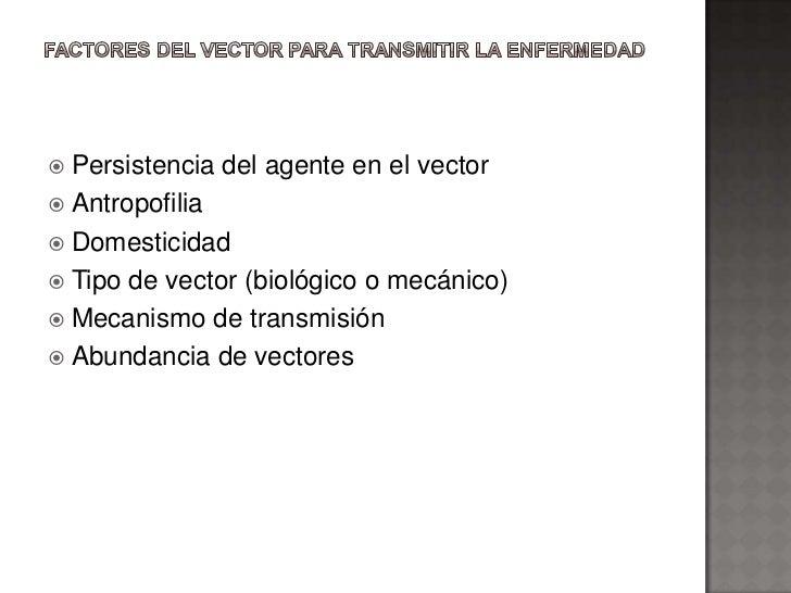  Persistencia del agente en el vector Antropofilia Domesticidad Tipo de vector (biológico o mecánico) Mecanismo de tr...