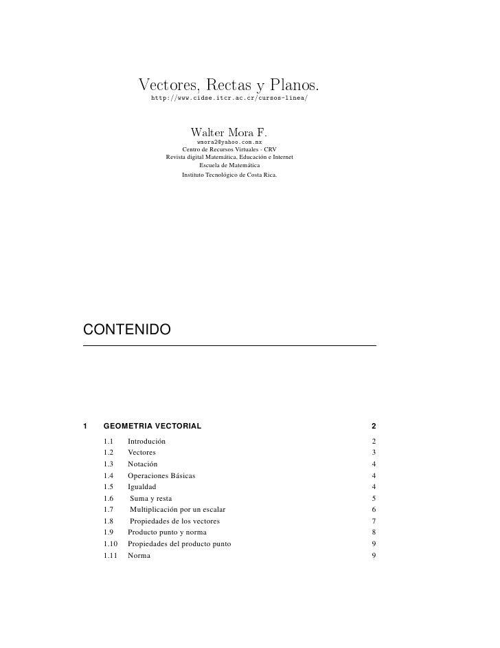 Vectores, Rectas y Planos.                  http://www.cidse.itcr.ac.cr/cursos-linea/                                   Wa...