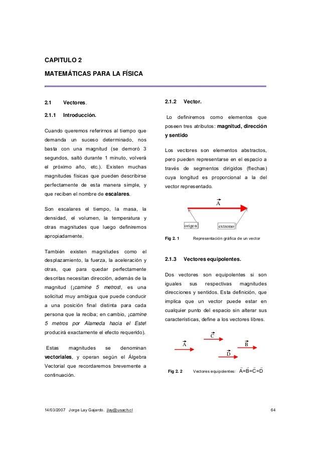 14/03/2007 Jorge Lay Gajardo. jlay@usach.cl 64 CAPITULO 2 MATEMÁTICAS PARA LA FÍSICA 2.1 Vectores. 2.1.1 Introducción. Cua...