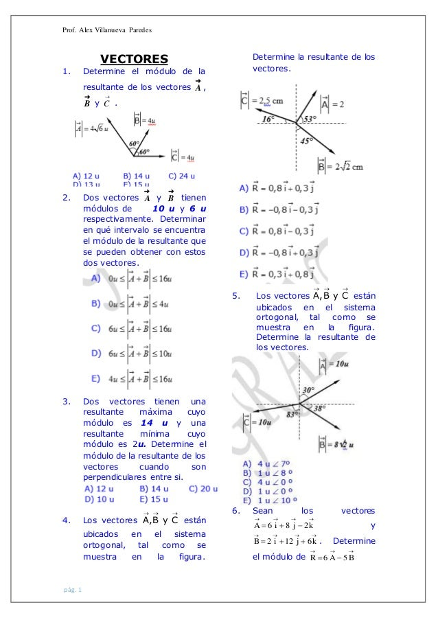 Prof. Alex Villanueva Paredes pág. 1 VECTORES 1. Determine el módulo de la resultante de los vectores  A ,  B y  C . 2....