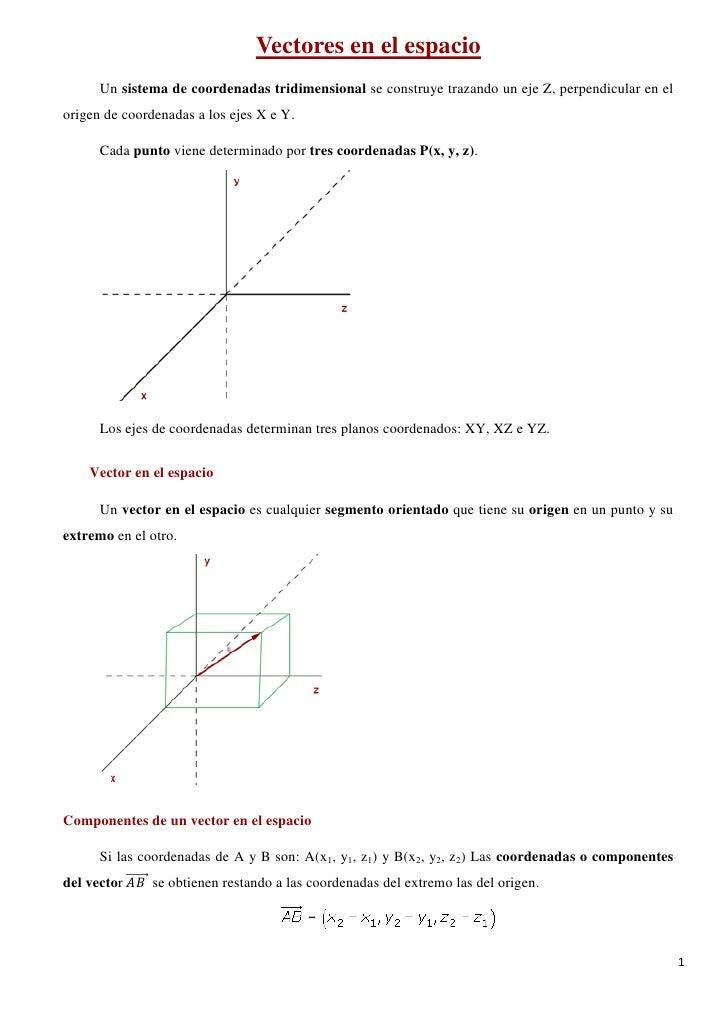 Vectores en el espacio      Un sistema de coordenadas tridimensional se construye trazando un eje Z, perpendicular en elor...