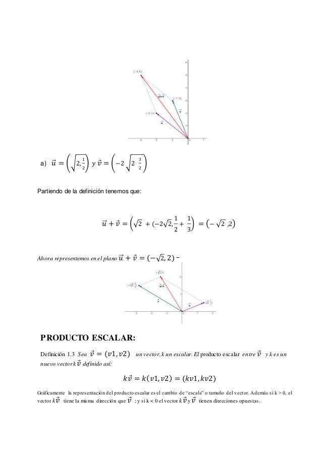 a) 𝑢⃗⃗ = (√2, 1 2 ) 𝑦 𝑣⃗ = (−2 √2 3 2 ) Partiendo de la definición tenemos que: 𝑢⃗⃗ + 𝑣⃗ = (√2 + (−2√2, 1 2 + 1 3 ) = (− √...