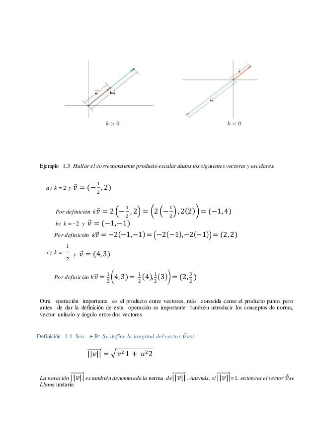 Ejemplo 1.3 Hallar el correspondiente producto escalar dadoslos siguientes vectores y escalares. a) k = 2 y 𝑣⃗ = (− 1 2 , ...