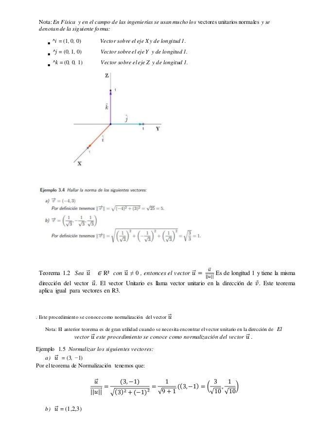 Nota: En Física y en el campo de las ingenieríasse usan mucho los vectores unitarios normales y se denotan de la siguiente...