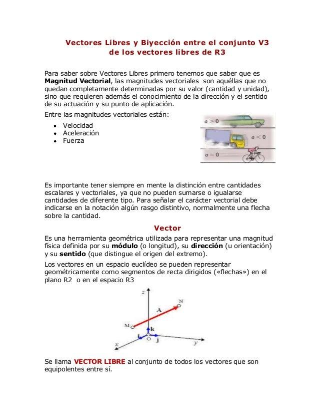 62b897f0504db Vectores Libres y Biyección entre el conjunto V3 de los vectores libres de  R3 Para saber ...