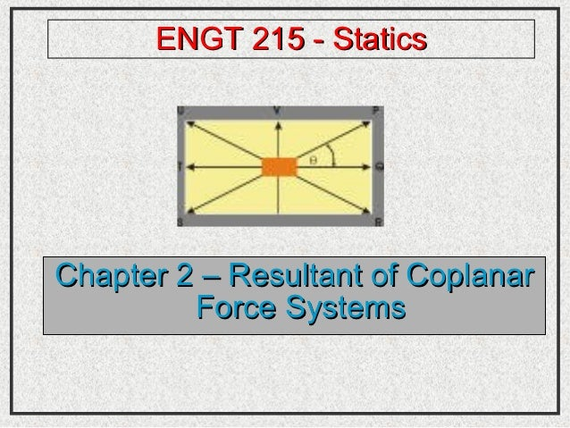 ENGT 215 - StaticsChapter 2 – Resultant of Coplanar         Force Systems
