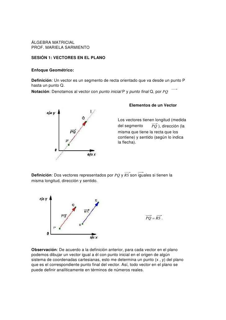 ÁLGEBRA MATRICIALPROF. MARIELA SARMIENTOSESIÓN 1: VECTORES EN EL PLANOEnfoque Geométrico:Definición: Un vector es un segme...