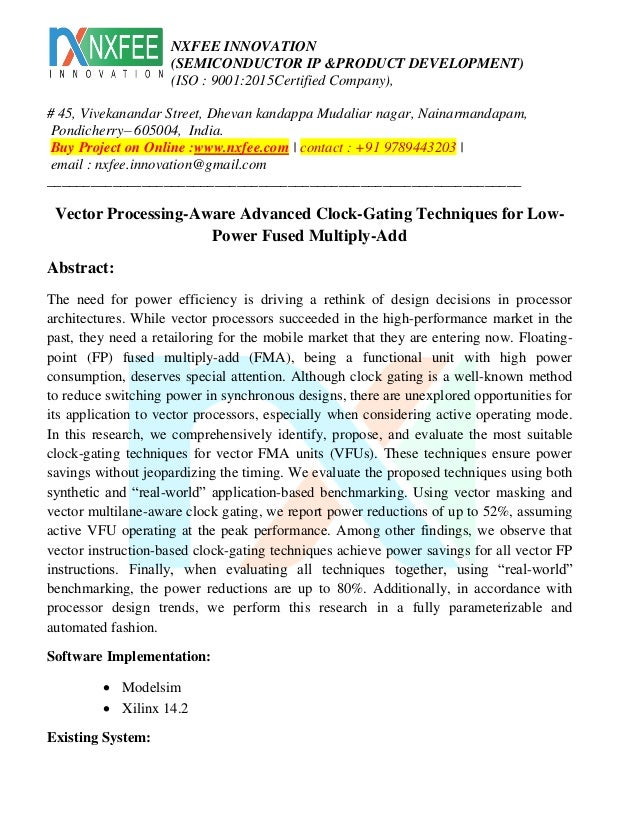 Vector processing aware advanced clock-gating techniques for