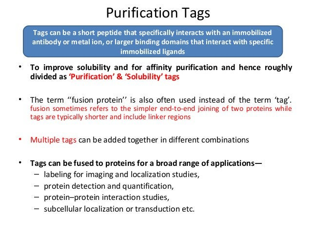 Tandem tags? • Multiple tags can be attached on target proteins, allowing for improved purification, expression, or tracki...