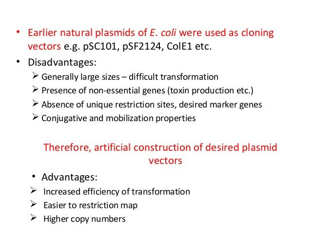 • Earlier natural plasmids of E. coli were used as cloning vectors e.g. pSC101, pSF2124, ColE1 etc. • Disadvantages:  Gen...