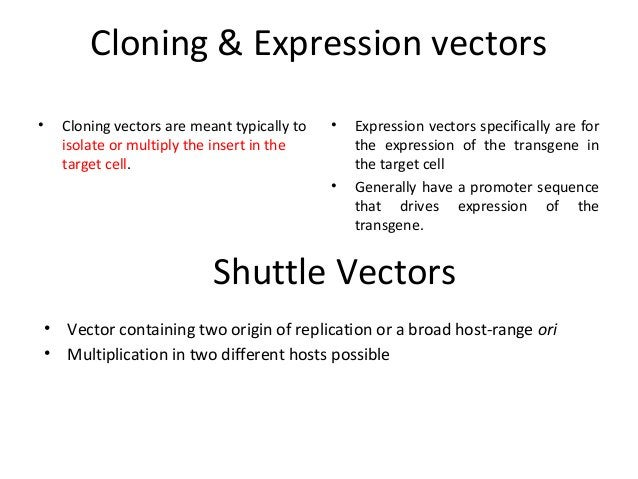 Cloning & Expression vectors •  Cloning vectors are meant typically to isolate or multiply the insert in the target cell. ...
