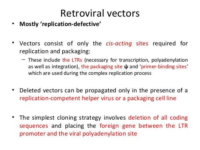 • Insertion vectors have been constructed; – – –  –  replication-competent Additional sub-genomic promoter present either ...