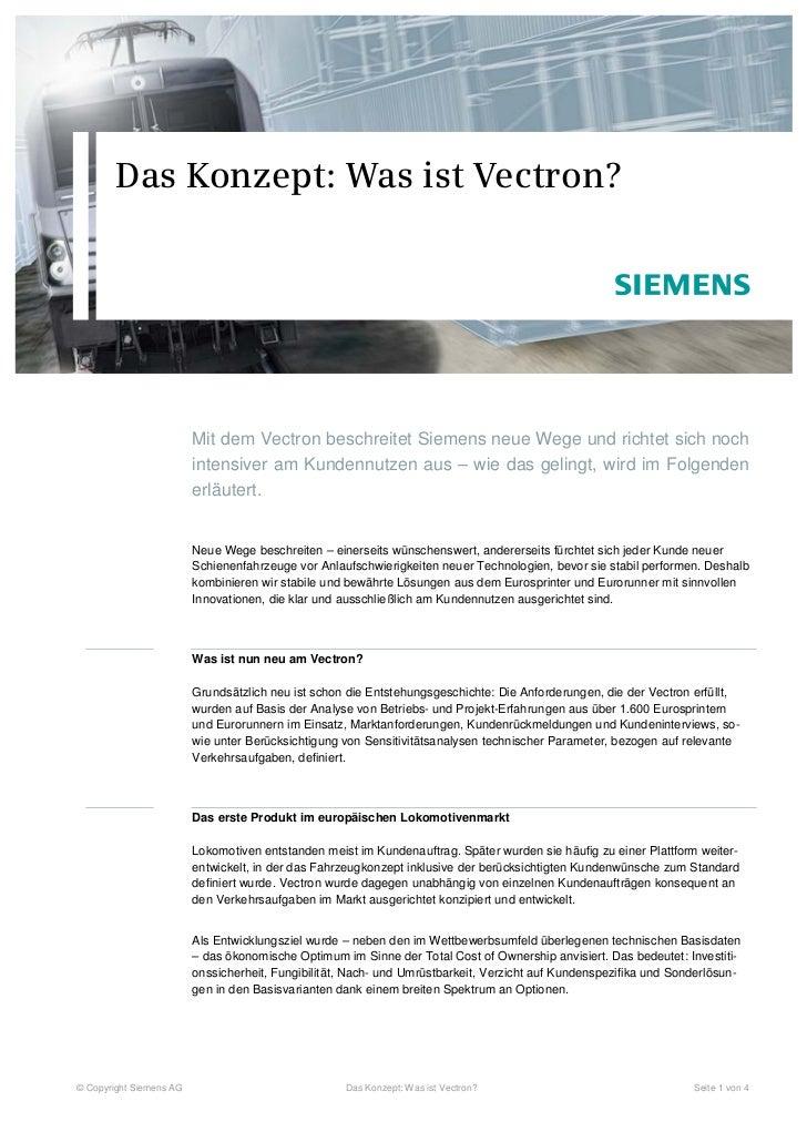 Das Konzept: Was ist Vectron?                         Mit dem Vectron beschreitet Siemens neue Wege und richtet sich noch ...