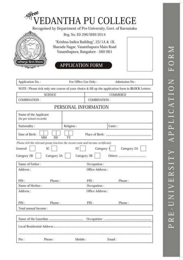 Vedantha pu college admission form