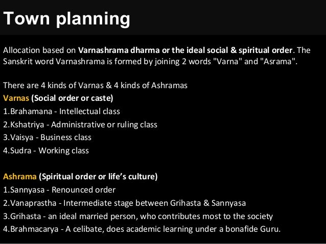 Allocation based on Varnashrama dharma or the ideal social & spiritual order. The Sanskrit word Varnashrama is formed by j...
