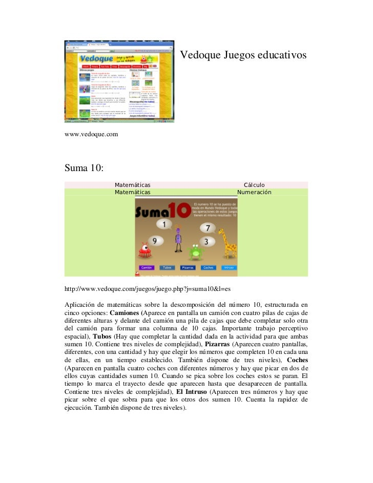 Vedoque Juegos educativoswww.vedoque.comSuma 10:                 Matemáticas                                  Cálculo     ...