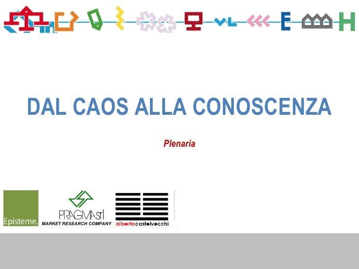 DAL CAOS ALLA CONOSCENZA                           Plenaria MARKET RESEARCH COMPANY                                      1