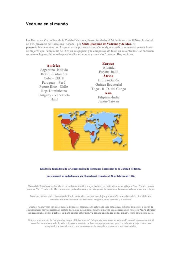 Vedruna En El Mundo Y Frases Célebres