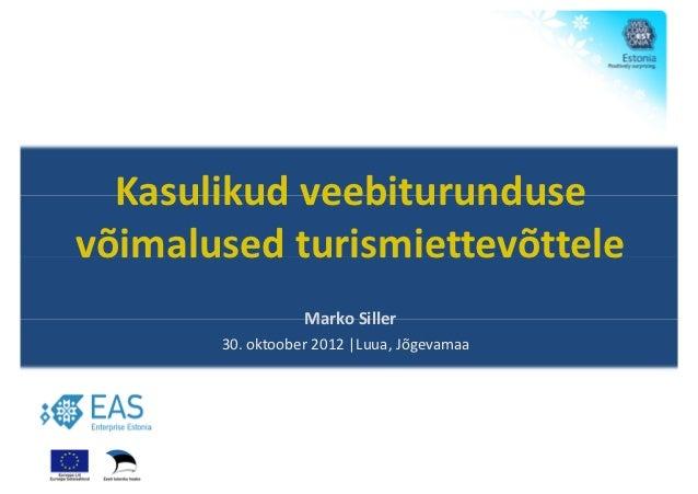 Kasulikud veebiturundusevõimalused turismiettevõttele                  Marko Siller       30. oktoober 2012 |Luua, Jõgevamaa