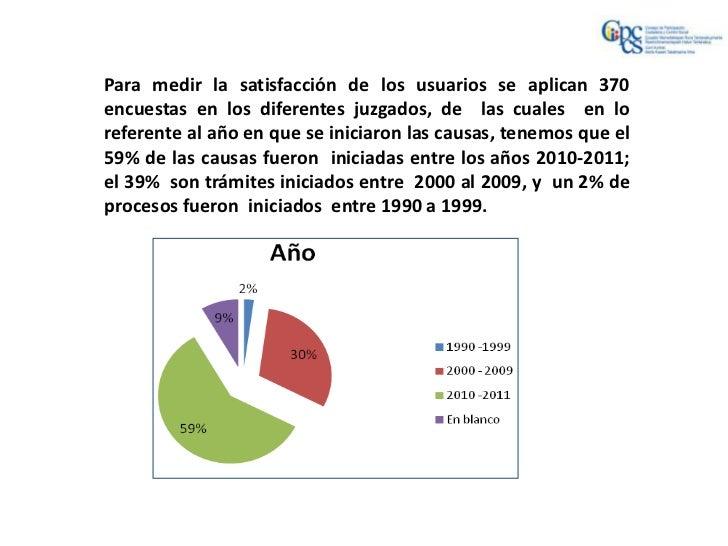 Para medir la satisfacción de los usuarios se aplican 370encuestas en los diferentes juzgados, de las cuales en loreferent...