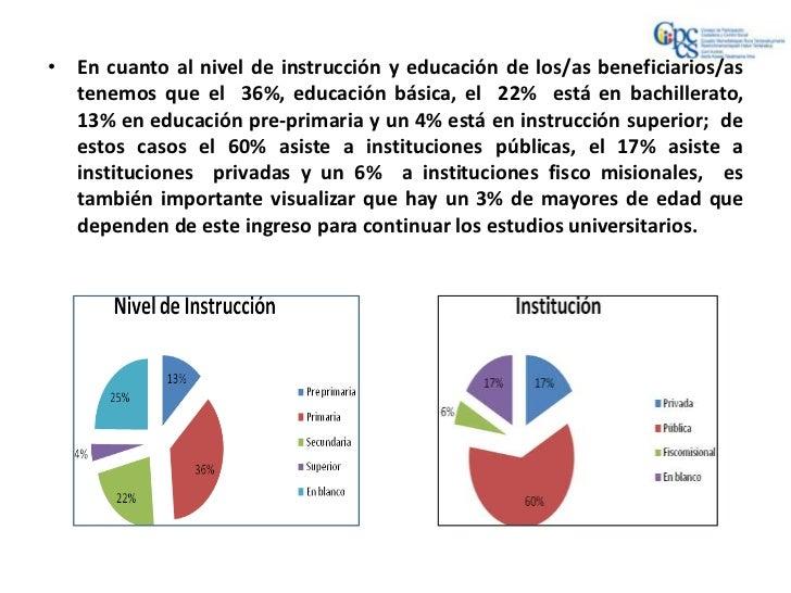 • En cuanto al nivel de instrucción y educación de los/as beneficiarios/as  tenemos que el 36%, educación básica, el 22% e...