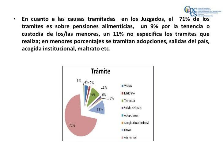 • En cuanto a las causas tramitadas en los Juzgados, el 71% de los  tramites es sobre pensiones alimenticias, un 9% por la...