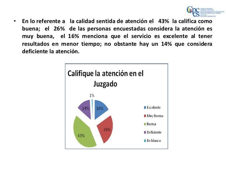 • En lo referente a la calidad sentida de atención el 43% la califica como  buena; el 26% de las personas encuestadas cons...