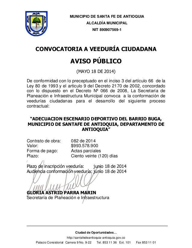 MUNICIPIO DE SANTA FE DE ANTIOQUIA ALCALDÍA MUNICIPAL NIT 890907569-1 Ciudad de Oportunidades… http://santafedeantioquia-a...