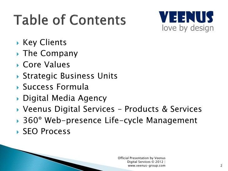 Veenus Group - Corporate Dossier (June 2012) Slide 2