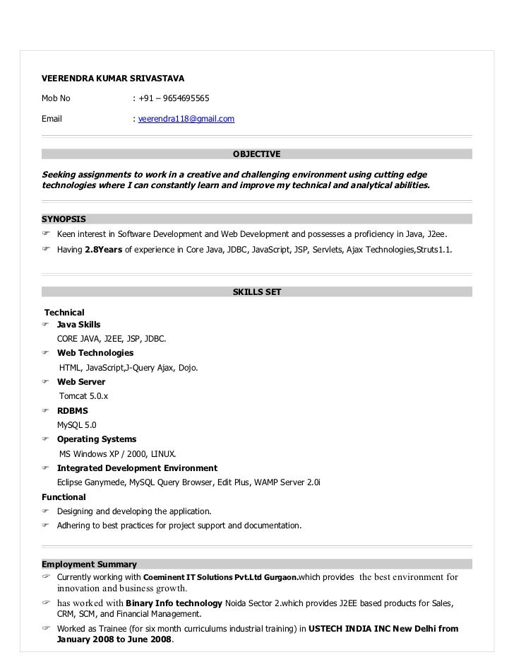 resume format for java developer with 1 year experience