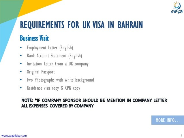 Vega bahrain uk business visa requirements 4 vega4visa requirements for uk visa in bahrain business visit employment letter stopboris Choice Image