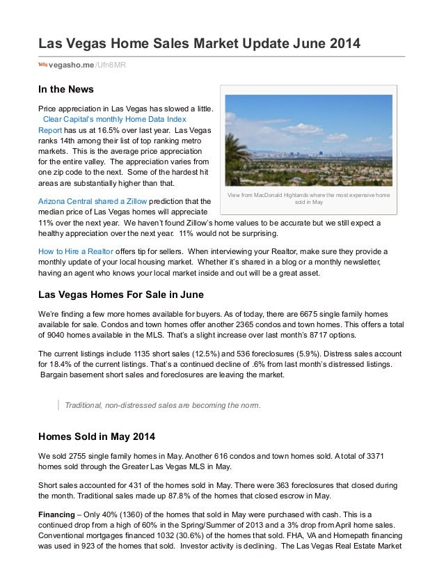 View from MacDonald Highlands where the most expensive home sold in May Las Vegas Home Sales Market Update June 2014 vegas...
