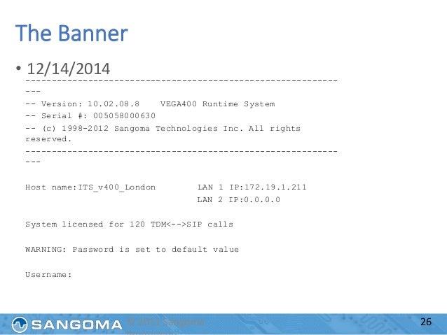 Sangoma Vega Gateway Training Presentation
