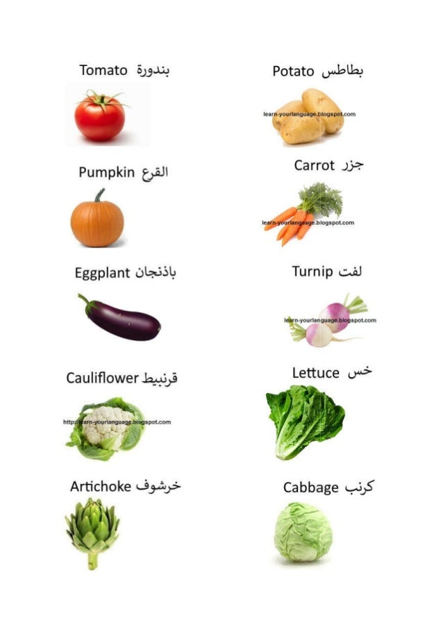 22 names of vegetables in English and Arabic