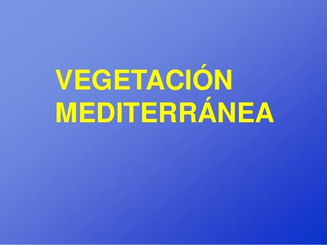 VEGETACIÓNMEDITERRÁNEA