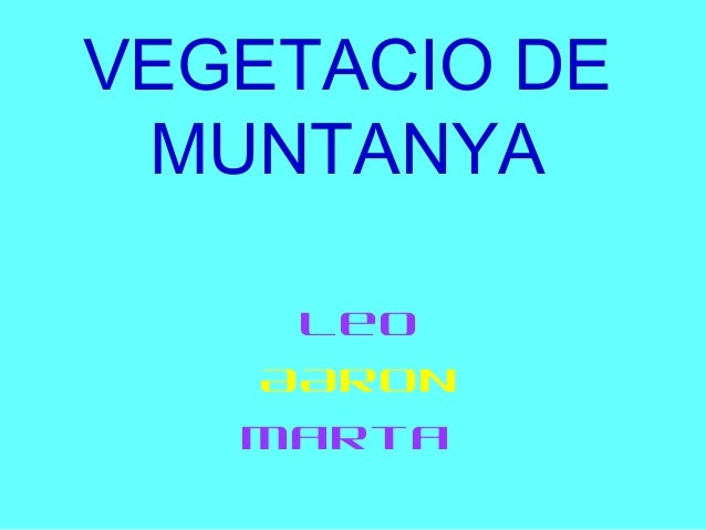 VEGETACIO DE MUNTANYA    Leo   AARON   Marta