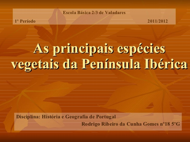 As principais espécies vegetais da Península Ibérica Disciplina: História e Geografia de Portugal Rodrigo Ribeiro da Cunha...