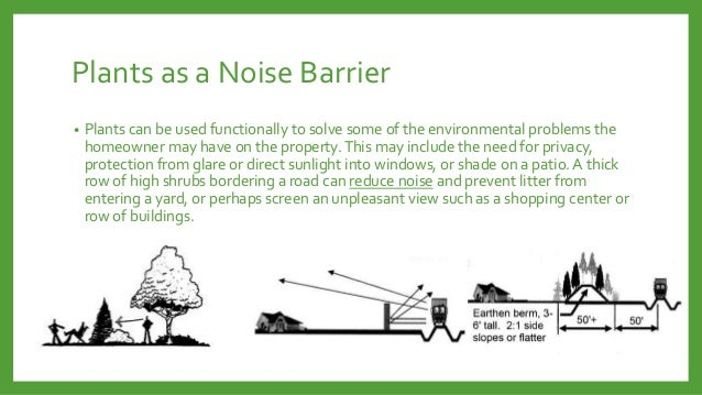 Plants as a Noise Barrier •  Plants can be used functionally to solve some of the environmental problems the homeowner may...