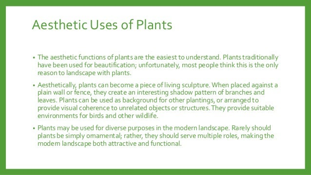 Aesthetic Uses of Plants •  The aesthetic functions of plants are the easiest to understand. Plants traditionally have bee...