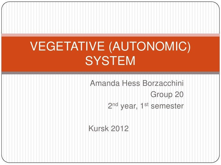 VEGETATIVE (AUTONOMIC)       SYSTEM        Amanda Hess Borzacchini                         Group 20           2nd year, 1s...