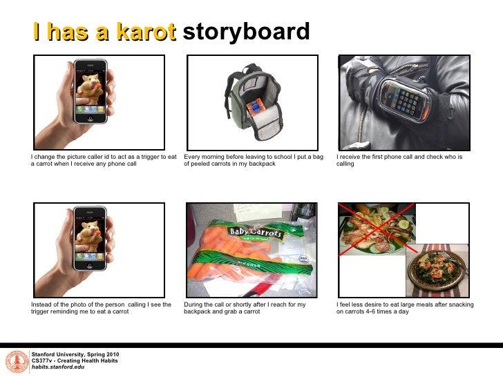 I has a karot  storyboard Stanford University, Spring 2010 CS377v - Creating Health Habits habits.stanford.edu   Instead o...