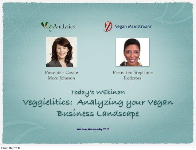 Today's WEbinar:Veggielitics: Analyzing your VeganBusiness LandscapePresenter: StephanieRedcrossWebinar Wednesday 2013Pre...
