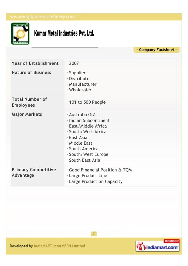- Company Factsheet -Year of Establishment   2007Nature of Business      Supplier                        Distributor      ...