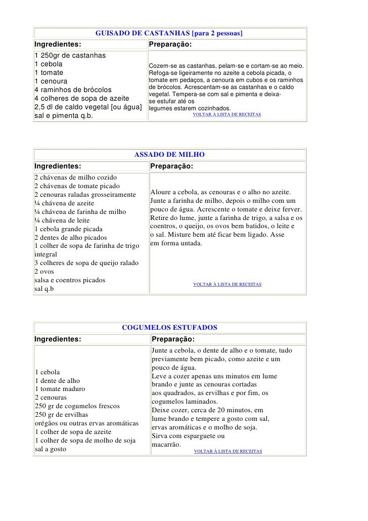 GUISADO DE CASTANHAS [para 2 pessoas] Ingredientes:                          Preparação: 1 250gr de castanhas 1 cebola    ...