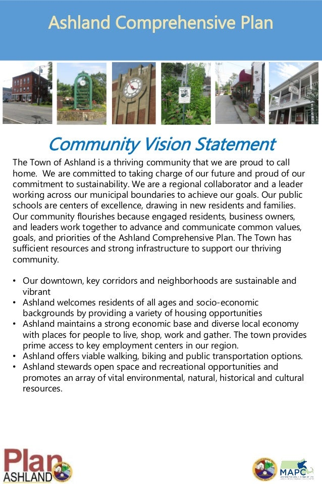 Community Vision Statement The Town of Ashland is a thriving community that we are proud to call home. We are committed to...