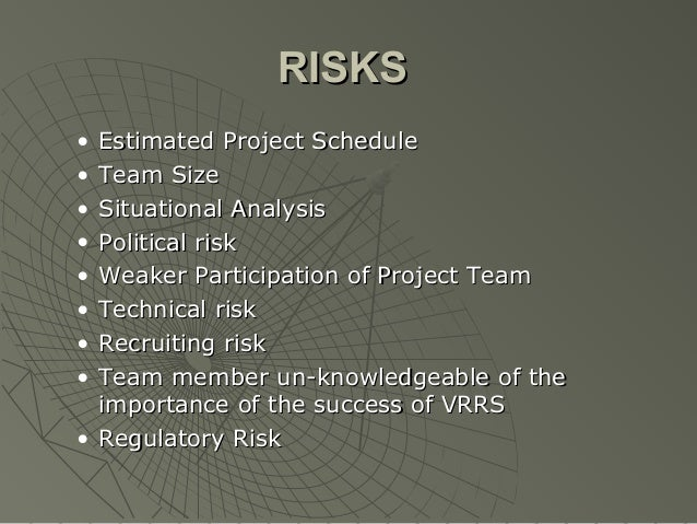 RISKS• Estimated Project Schedule• Team Size• Situational Analysis• Political risk• Weaker Participation of Project Team• ...